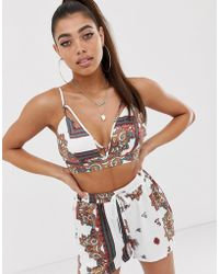 Missguided - Scarf Print Bralet In White Paisley - Lyst