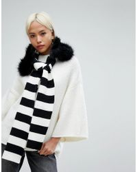 Urbancode   Stripe Knitted Scarf With Detachable Faux Fur Collar   Lyst