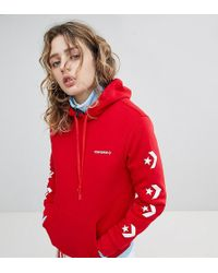 Converse - Star Chevron Graphic Pullover Hoodie In Red - Lyst