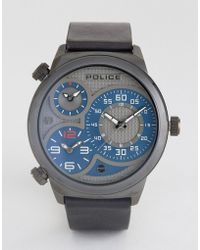 Police - Elapid Mens Black Leather Strap Watch With Grey And Blue Mutli Functional Dial - Lyst