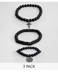 ALDO - Black Bracelets With Charms In 3 Pack - Lyst