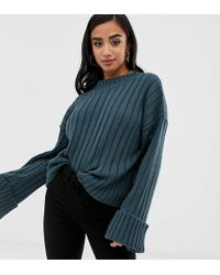 88098f1ac1 Boohoo - Exclusive Petite Ribbed Wide Sleeve Sweater In Mid Blue - Lyst