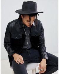 ASOS - Wide Brim Pork Pie Hat In Black With Distressing - Lyst