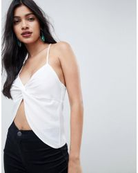ASOS - Satin Cami With Twist Front Detail - Lyst
