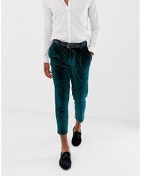 ASOS - Slim Crop Smart Pants In Green Velvet - Lyst
