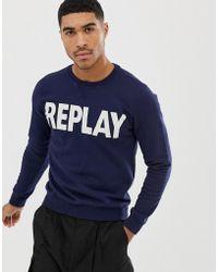Replay - Logo Crew Neck Sweat In Navy - Lyst