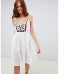 South Beach - Crinkle Embroidered Beach Dress With Spaghetti Straps - Lyst