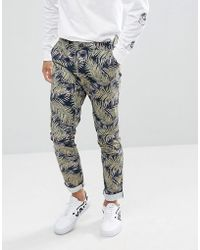 Skinny Smart Trousers In Cotton With Palm Print - Black Asos Recommend Cheap v1OpkYJYc