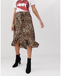 198a62e5b2 Soaked In Luxury - Leopard Print Wrap Skirt - Lyst