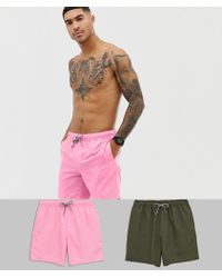 ASOS - Swim Shorts 2 Pack In Pink & Khaki In Mid Length Multipack Saving - Lyst
