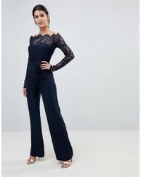 Lioness - Off Shoulder Lace Top Wide Leg Jumpsuit - Lyst