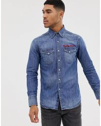 Replay - Embroidered Denim Shirt In Blue - Lyst