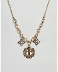 ASOS - Statement Necklace With Vintage Style Pendants With Cross Design And Pearls In Gold - Lyst