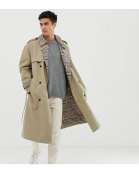 Noak - Check Lined Trench Coat In Stone - Lyst