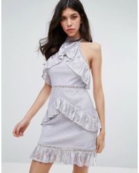 True Decadence - Sleeveless Lace Ruffle Detail Mini Dress - Lyst