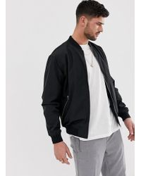 Pull&Bear - Bomber Jacket In Black - Lyst