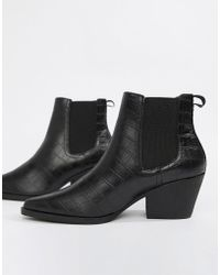 d00eb2ac1452 PrettyLittleThing. Block Heel Pointed Western Boots In Black.  79. ASOS ·  New Look - Croc Western Heel Boot - Lyst