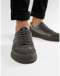 H by Hudson - Bateley Trainers In Grey Velvet - Lyst