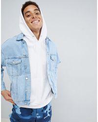 b8ef165d5f1 Mennace - Blue Zip Sleeve Drop Shoulder Denim Jacket - Lyst