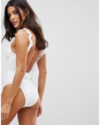 Playful Promises - Bridal White Lace Ruffle Scoop Back Swimsuit - Lyst