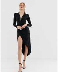 John Zack - Plunge Front Ruched Maxi Dress In Black - Lyst