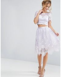 Chi Chi London | Midi Skirt In Scallop Lace | Lyst
