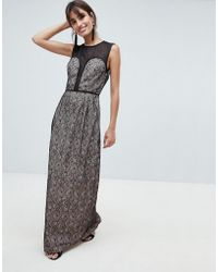 Little Mistress - Contrast Lace Maxi Dress - Lyst