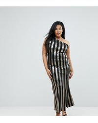 e3fdaa7a5c9 John Zack - One Shoulder Contrast Stripe Maxi Dress - Lyst
