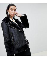 River Island - Studio Leather Aviator Jacket In Black - Lyst