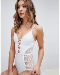 New Look - Mixed Mesh Plunge Swimsuit - Lyst
