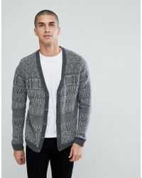 ASOS - Asos Lambswool Fairisle Cardigan In Grey - Lyst