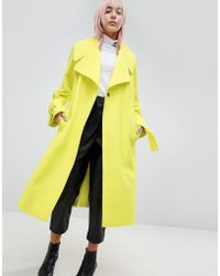 ASOS - Chartreuse Belted Coat - Lyst