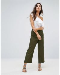 Warehouse - Cropped Wide Leg Pants - Lyst