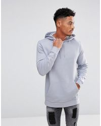 ASOS - Longline Hoodie In Light Grey - Lyst