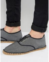 ASOS - Oxford Espadrilles In Black Chambray - Lyst