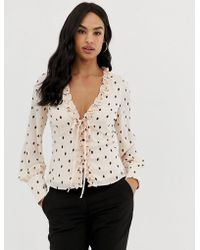 Fashion Union - Tie Front Blouse In Polka - Lyst