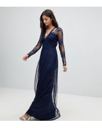 ASOS - Lace Top Maxi Dress With Ruched Bodice - Lyst
