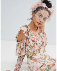 ASOS - Design Statement Fabric Leaf And Veil Fascinator Headband - Lyst