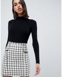 Lipsy - 2 In 1 Dress With Checked Skirt In Mono - Lyst