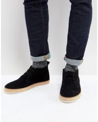 Dune - Desert Boots With Espadrille Sole Black - Lyst