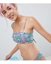 Monki - Mosaic Bandeau Bikini Top In Mosaic Print - Lyst