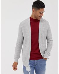 ASOS - Lightweight Cable Cardigan In Light Grey - Lyst