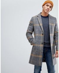 Ted Baker - Wool Overcoat In Camel Check - Lyst
