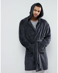 New Look - Robe With Hood In Dark Gray - Lyst