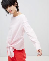 Pieces - Striped Top With Knot Front - Lyst