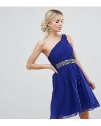 Little Mistress - Little Mistress One Shoulder Skater Dress With Embellished Waist Line - Lyst
