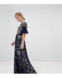 Frock and Frill - Allover Floral Embroidered Lace Maxi Dress With Flutter Sleeve - Lyst