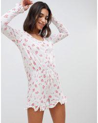 Vero Moda - Christmas Candy Cane Print Pyjama Playsuit - Lyst