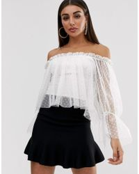 John Zack Off Shoulder Dotty Tulle Mesh Swing Top With Bell Sleeve In White