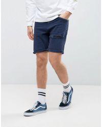 ASOS - Asos Denim Shorts In Stretch Slim Dark Blue With Thigh Rip - Lyst